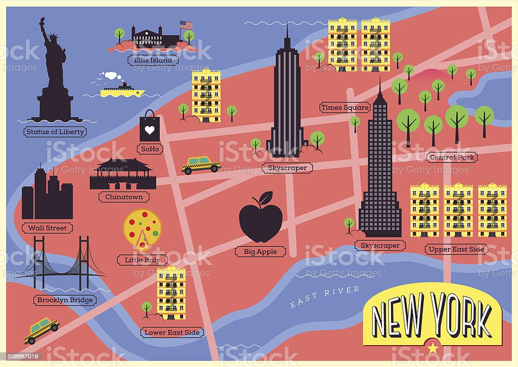 City Map Illustration of New York. vector art illustration