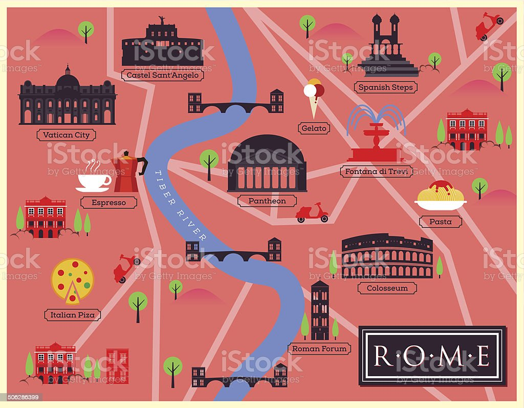 City Map Illustration of Rome. Landmarks and Vector Map Icons. vector art illustration