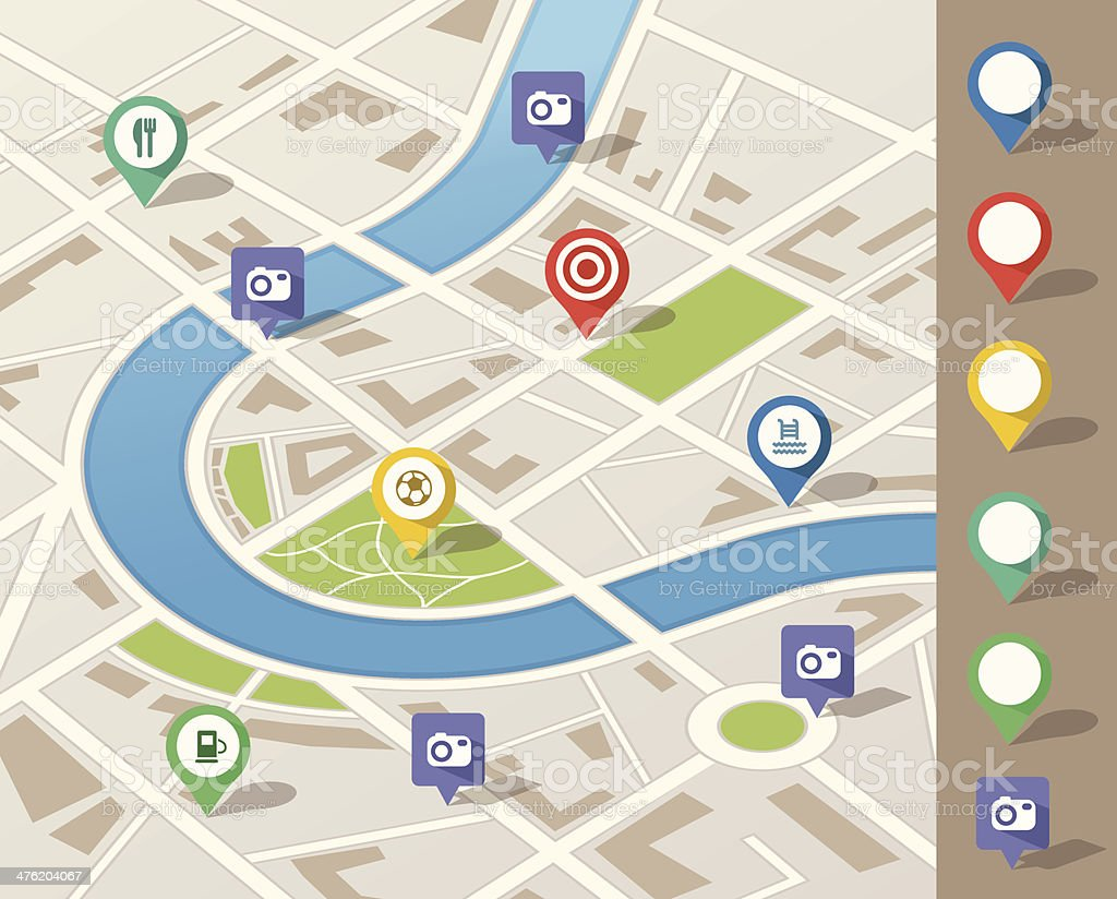 city map illustration with location pins vector art illustration