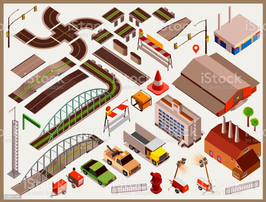 City Map Kit isometric vector. make your custom Township vector art illustration