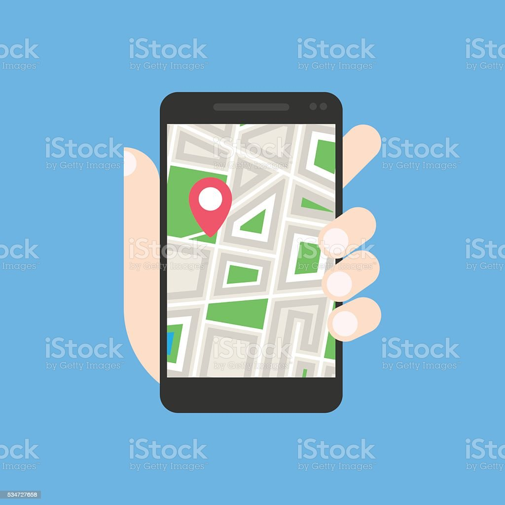 City map on mobile phone stock photo