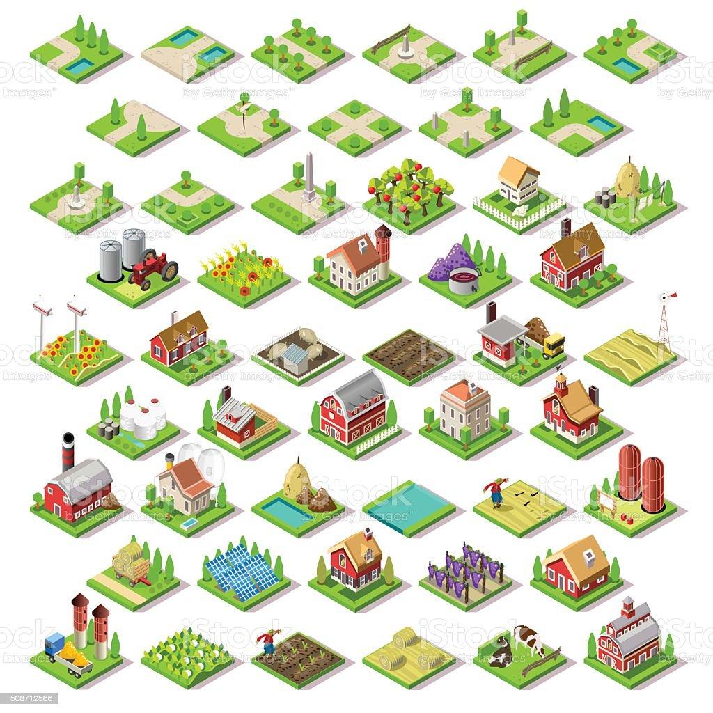 City Map Set 03 Tiles Isometric vector art illustration