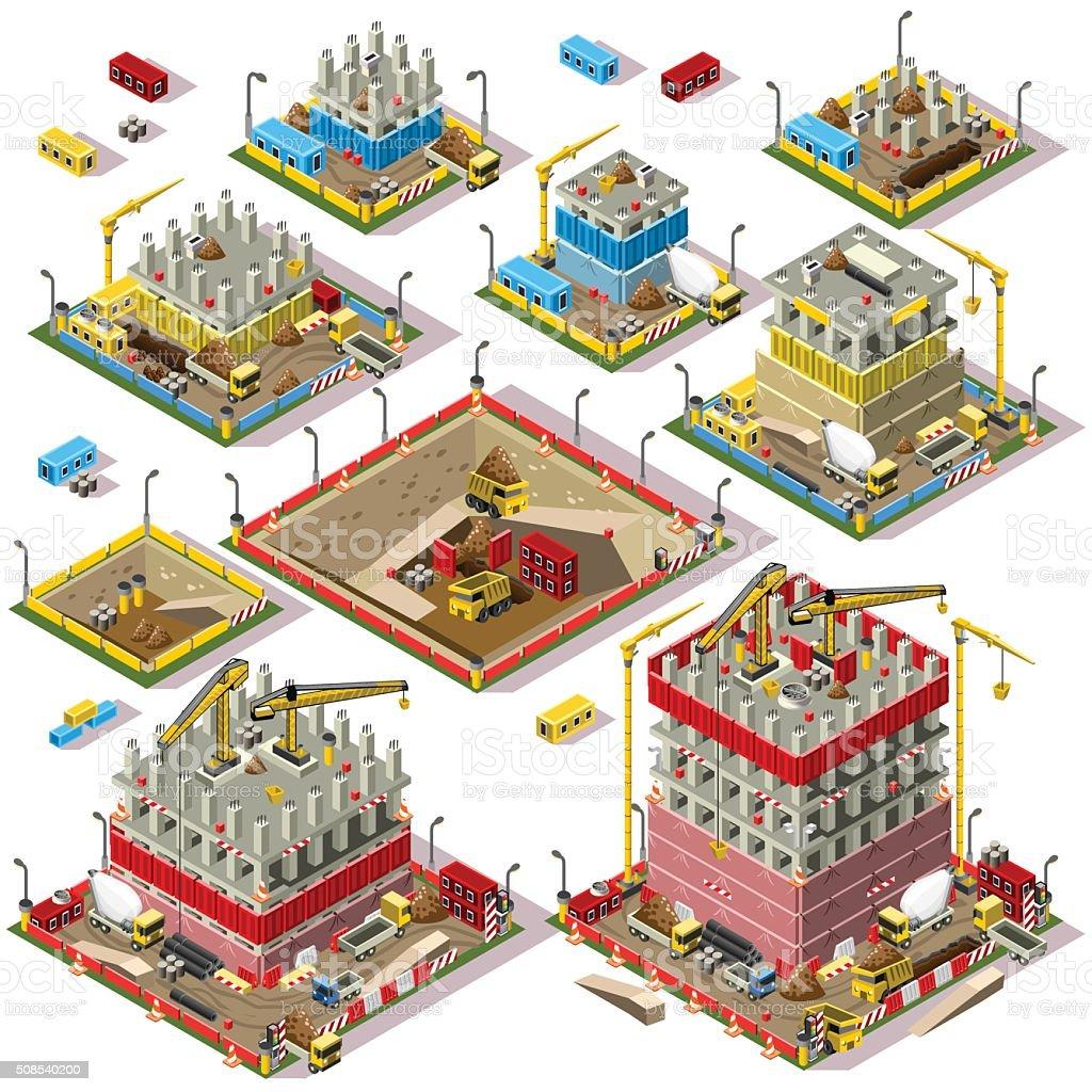 City Map Set 04 Tiles Isometric vector art illustration