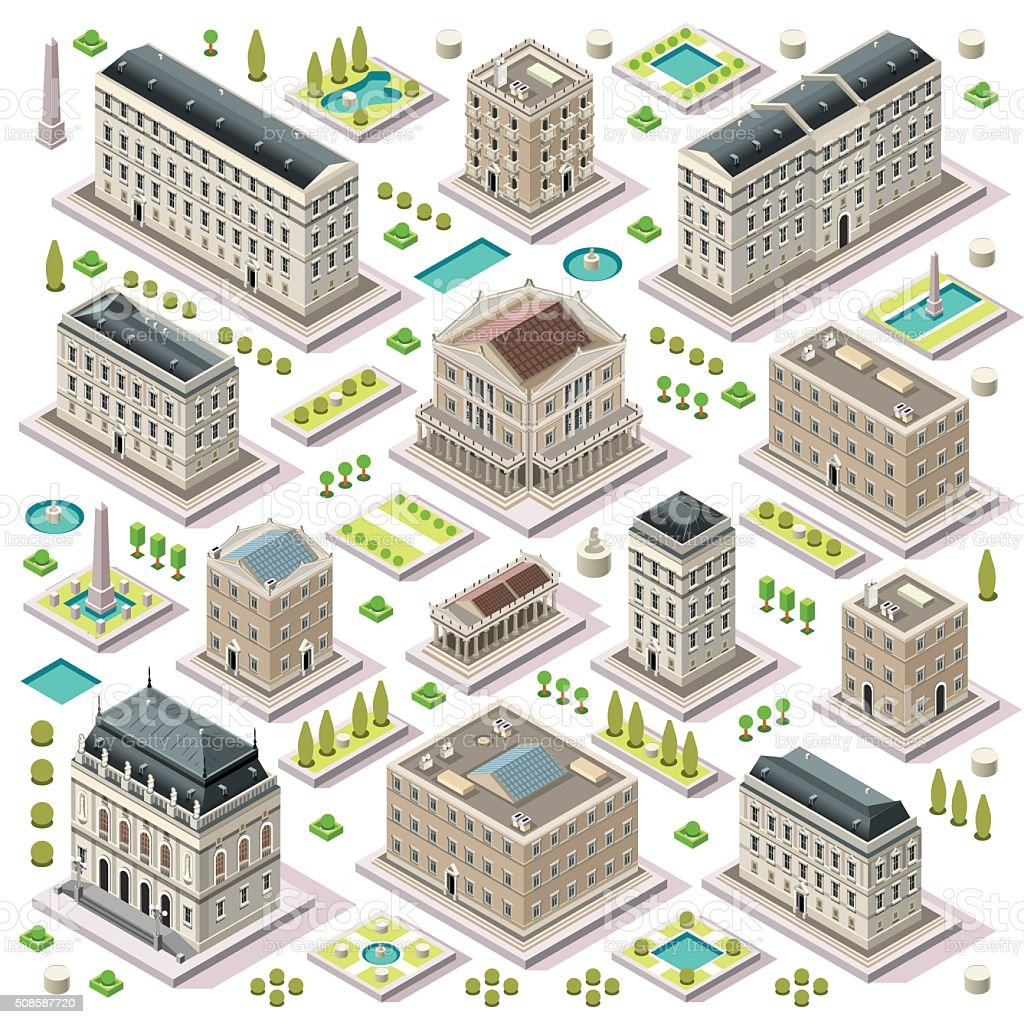 City Map Set 05 Tiles Isometric vector art illustration