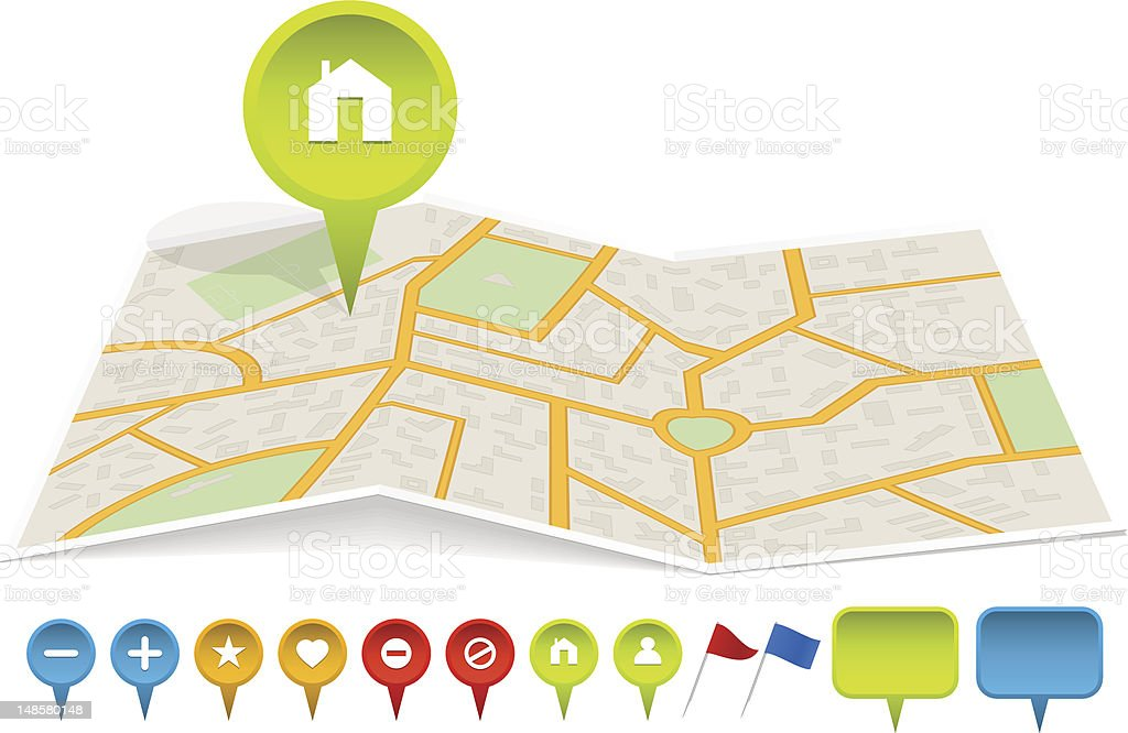 City map with labels vector art illustration