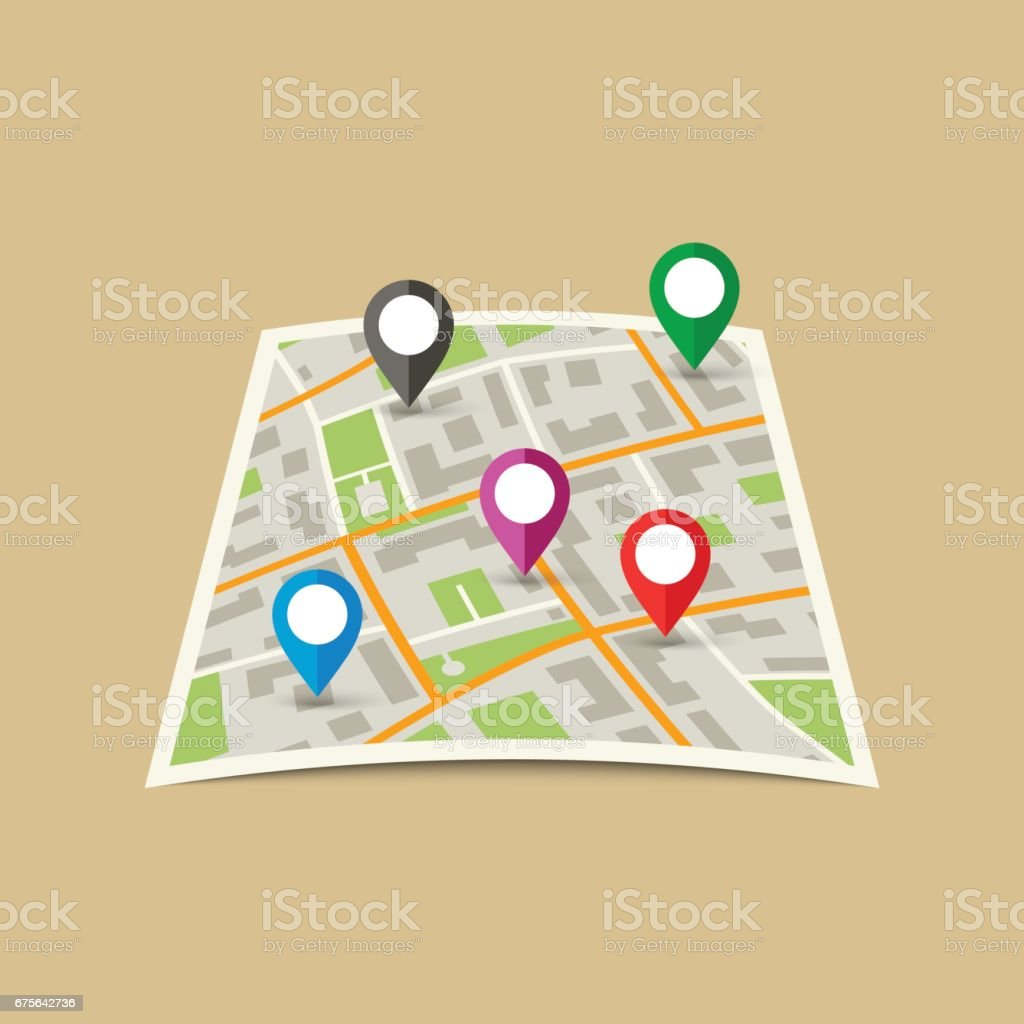 City Map with Markers. vector art illustration
