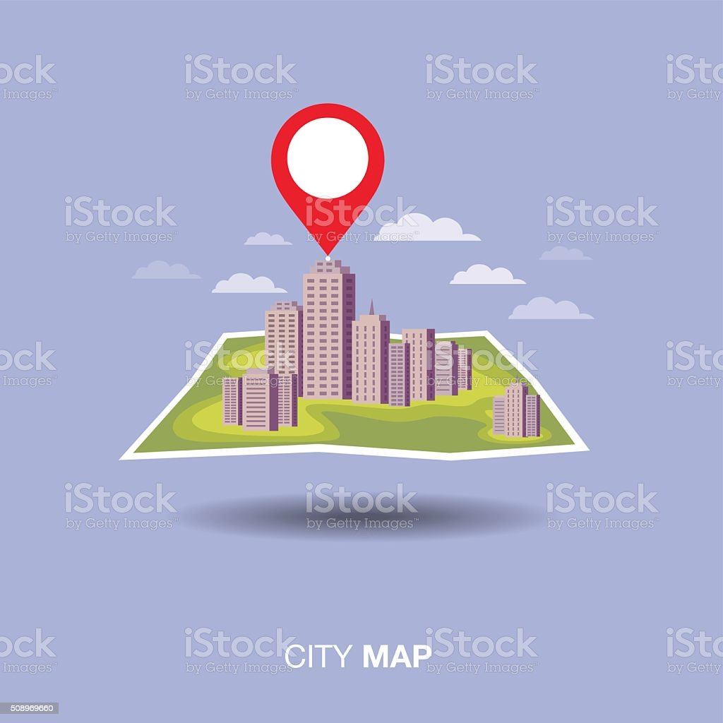 city map,pin, flat design vector art illustration