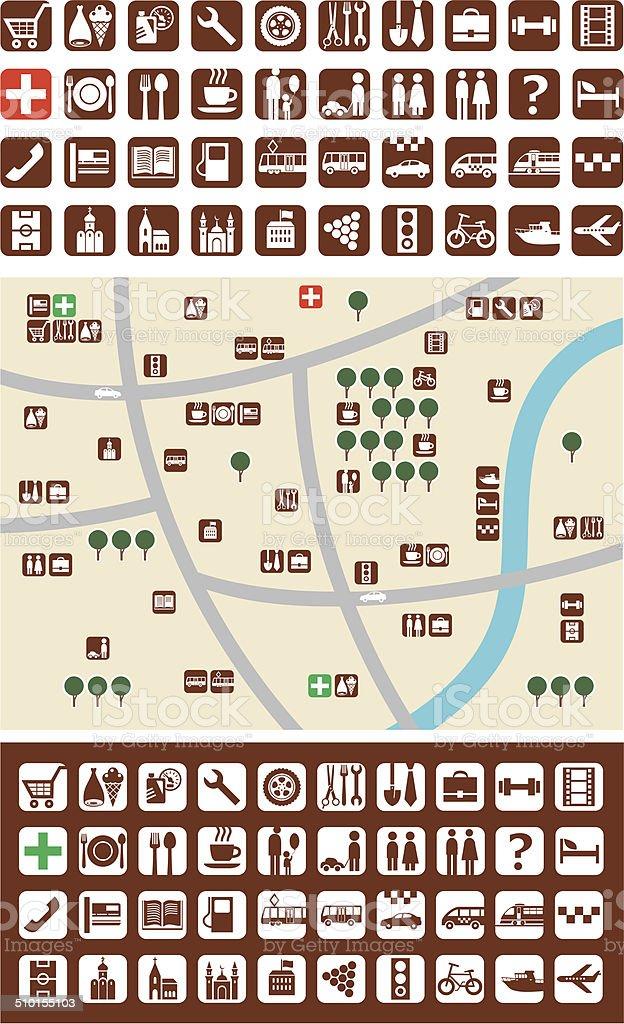 City maps, icons vector art illustration