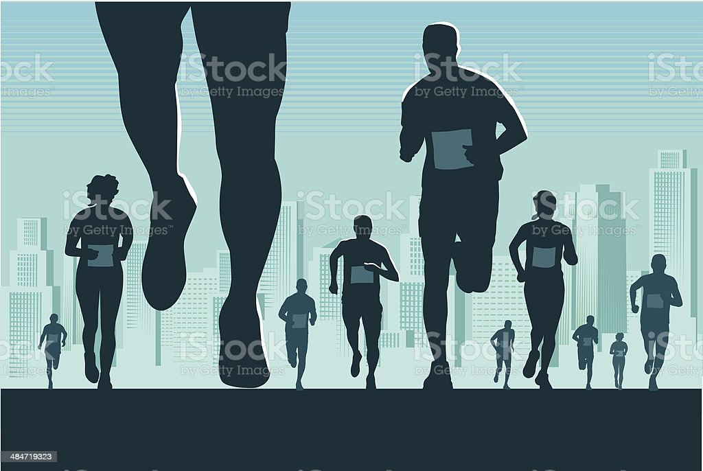 City Marathon vector art illustration