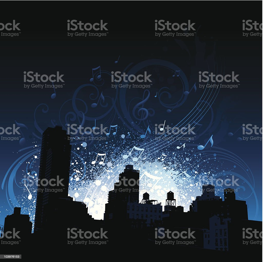 City music background vector art illustration