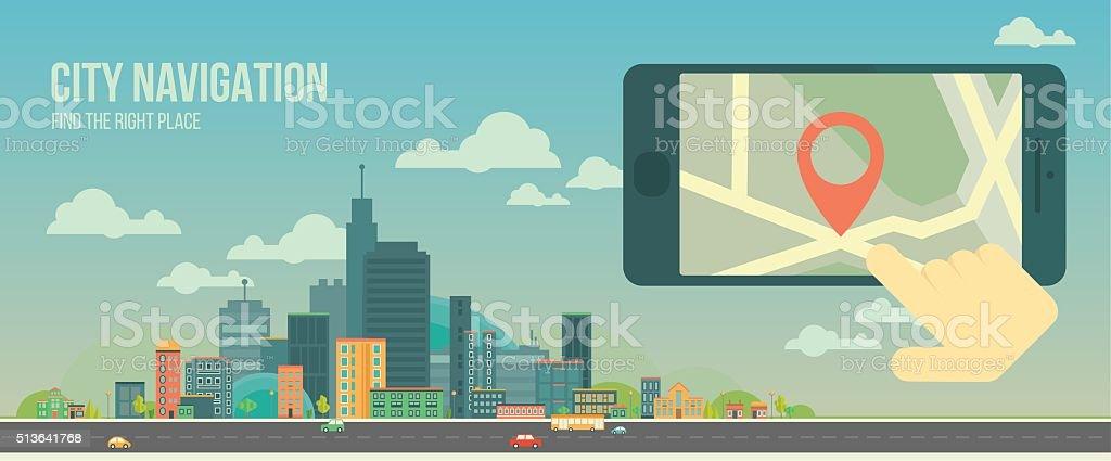 City navigation web banner. Flat illustration. vector art illustration