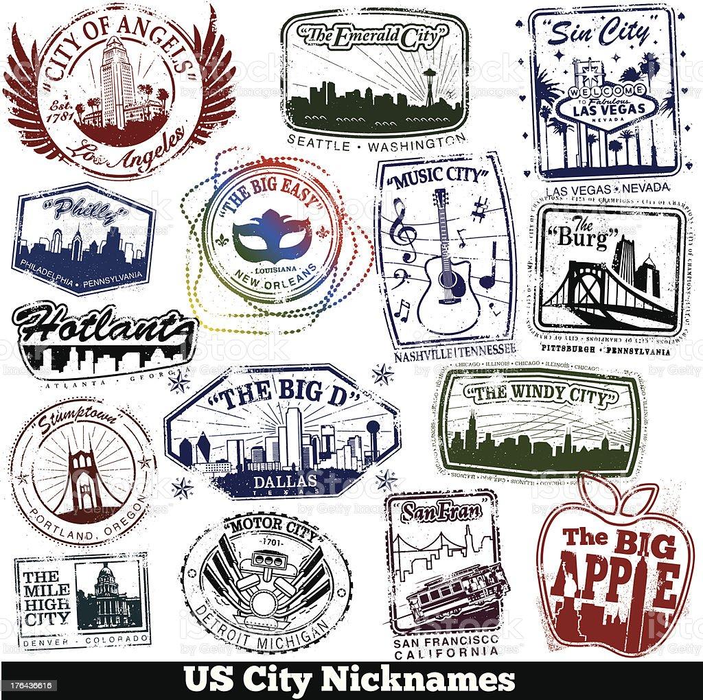US City Nickname Stamps vector art illustration