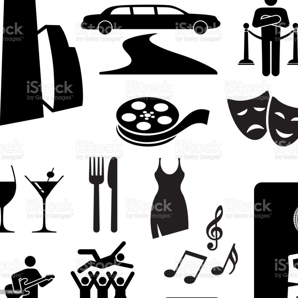 City nightlife fun black and white vector icon set vector art illustration