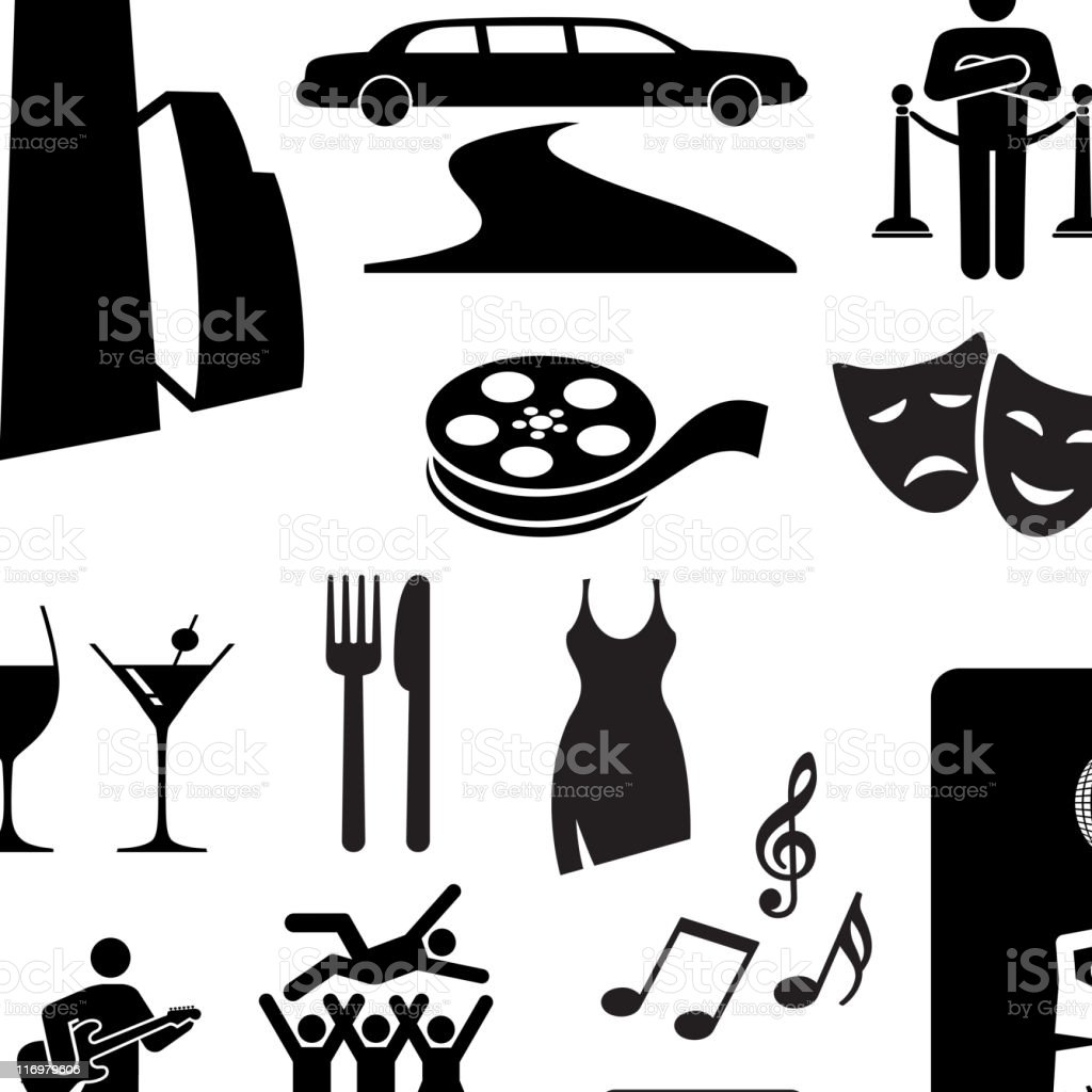 City nightlife fun black and white vector icon set vector art illustration