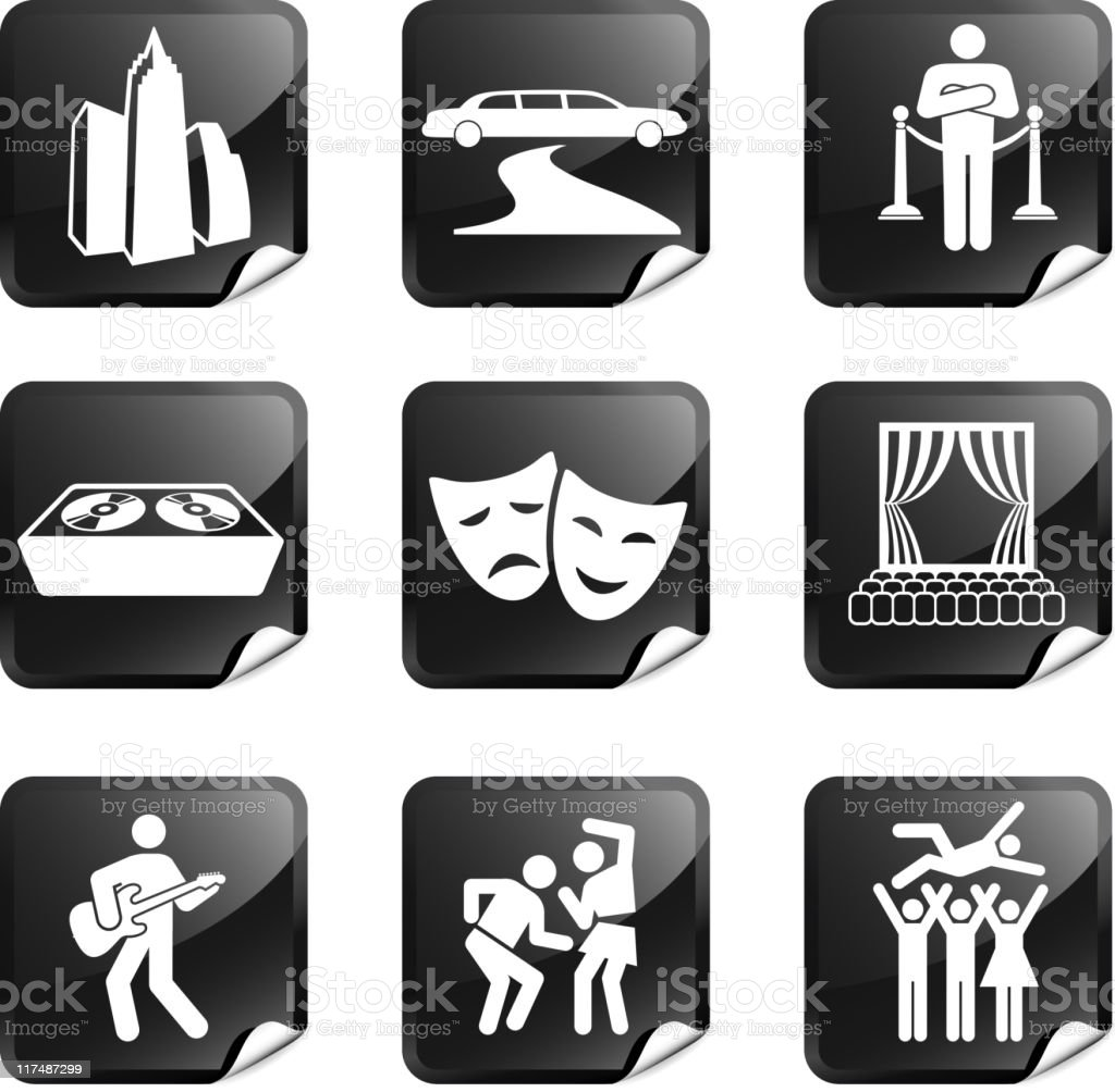 City nightlife fun nine royalty free vector icon set vector art illustration