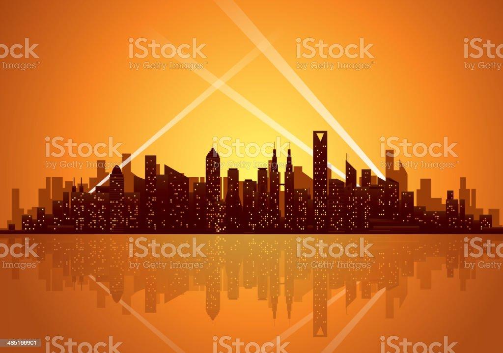 City nightlife vector art illustration