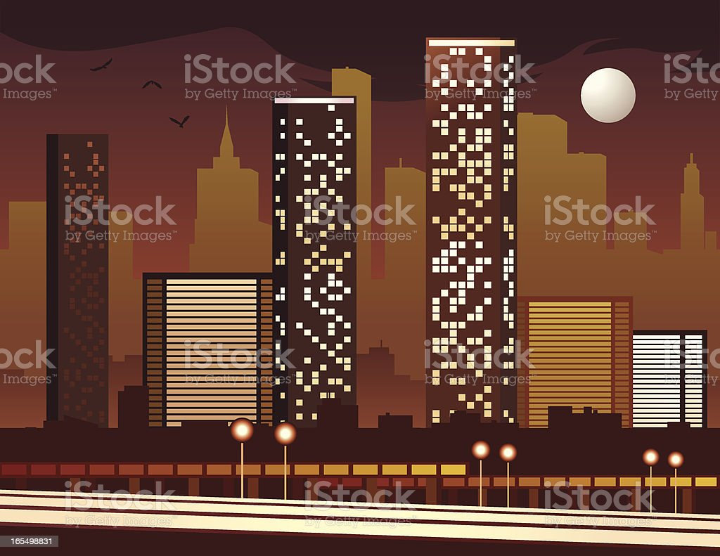 City of Night royalty-free stock vector art