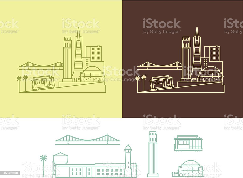 City of San Francisco vector art illustration