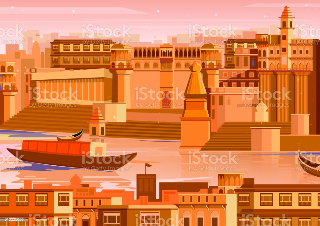 City of Varanasi in India vector art illustration