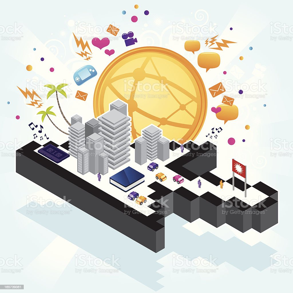 City on a pointer royalty-free stock vector art