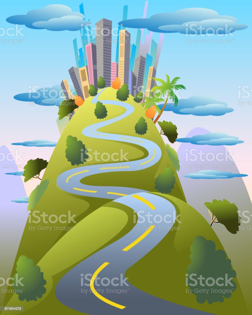 City on top of the Hill royalty-free stock vector art