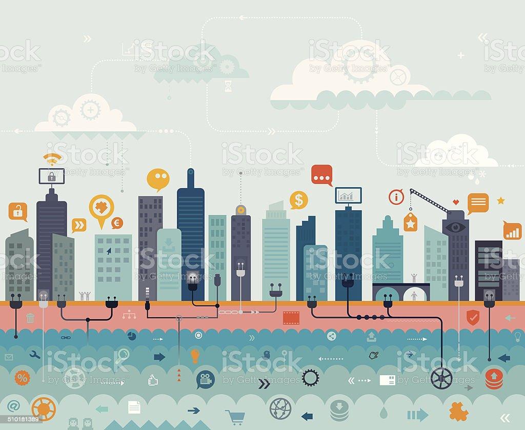 City Online vector art illustration
