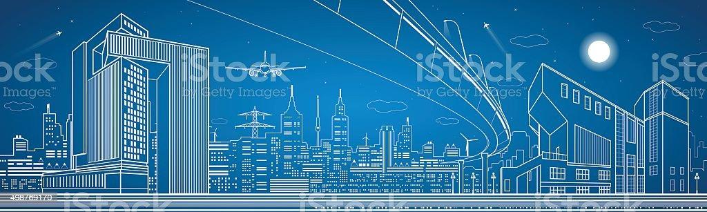 City panorama, night town, infrastructure landscape vector art illustration