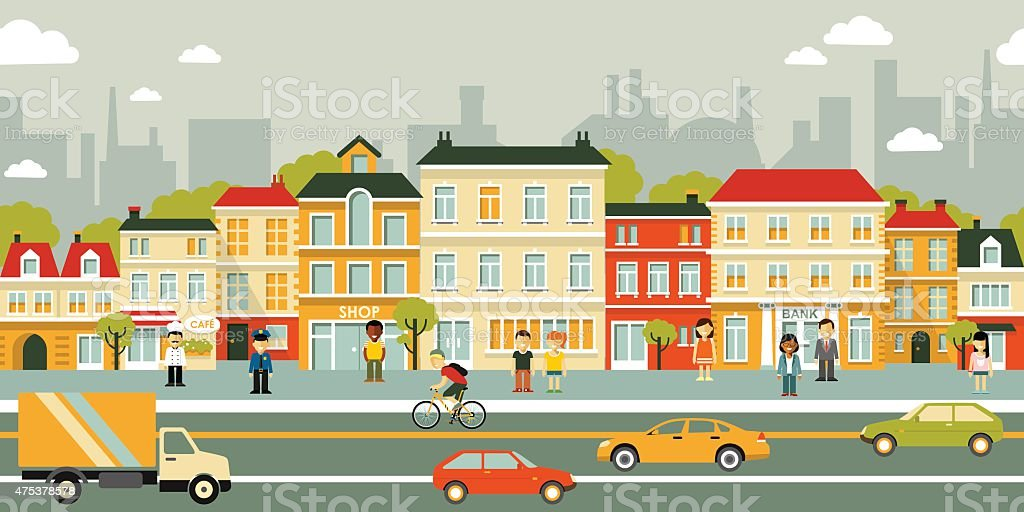 City panorama street background in flat style vector art illustration