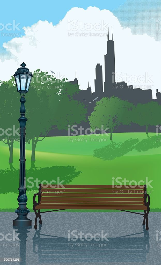 City Park Bench Background vector art illustration