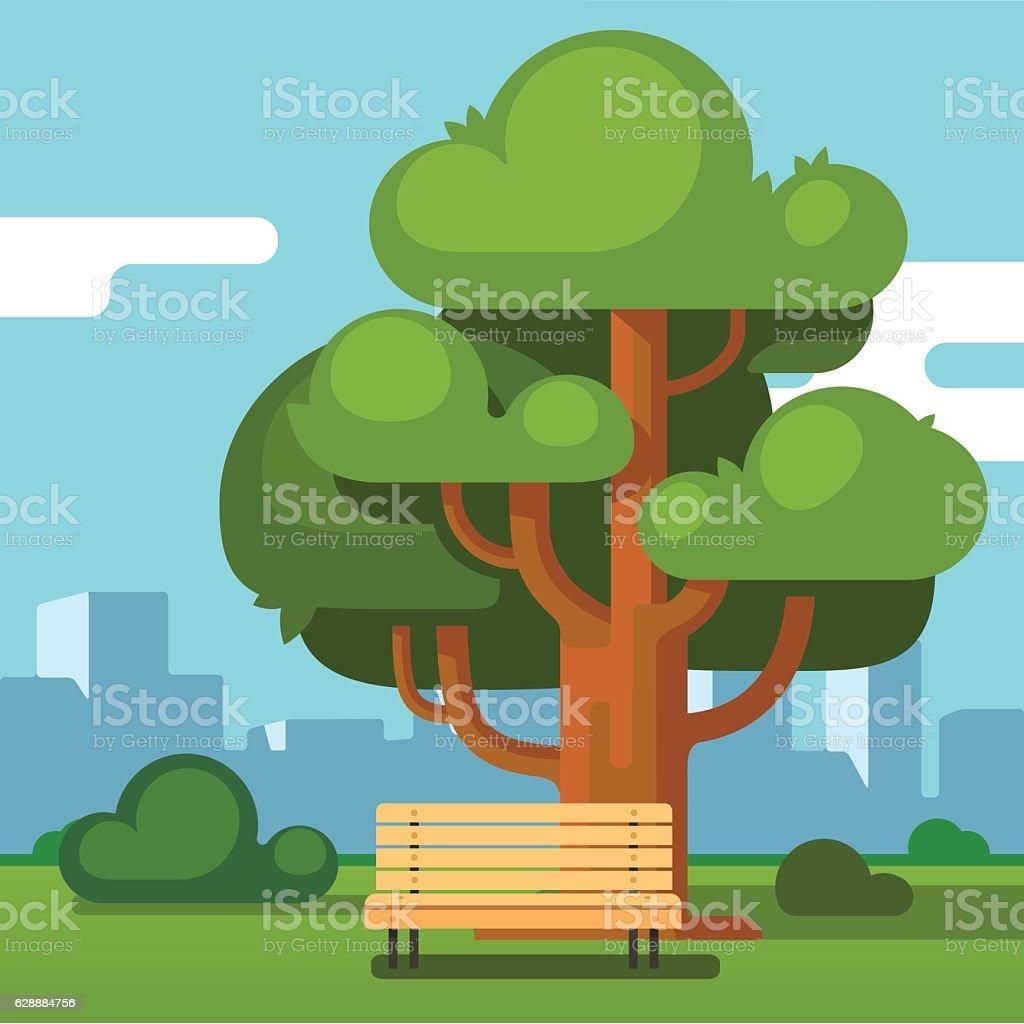 City park bench under an oak with urban landscape vector art illustration