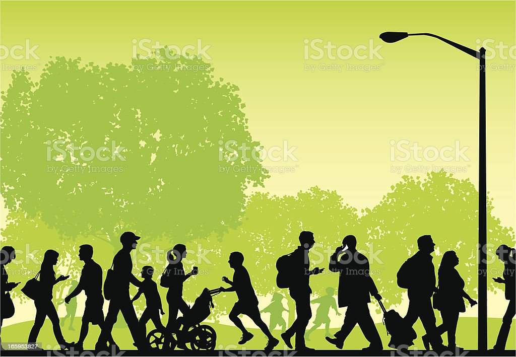 City Park - Busy People Walking, Fitness, Lifestyle Background royalty-free stock vector art
