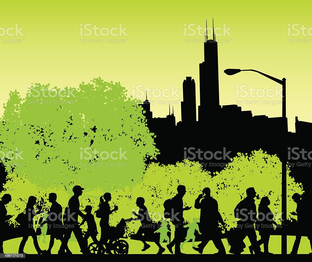 City Park - Busy People Walking, Fitness, Lifestyle Background vector art illustration