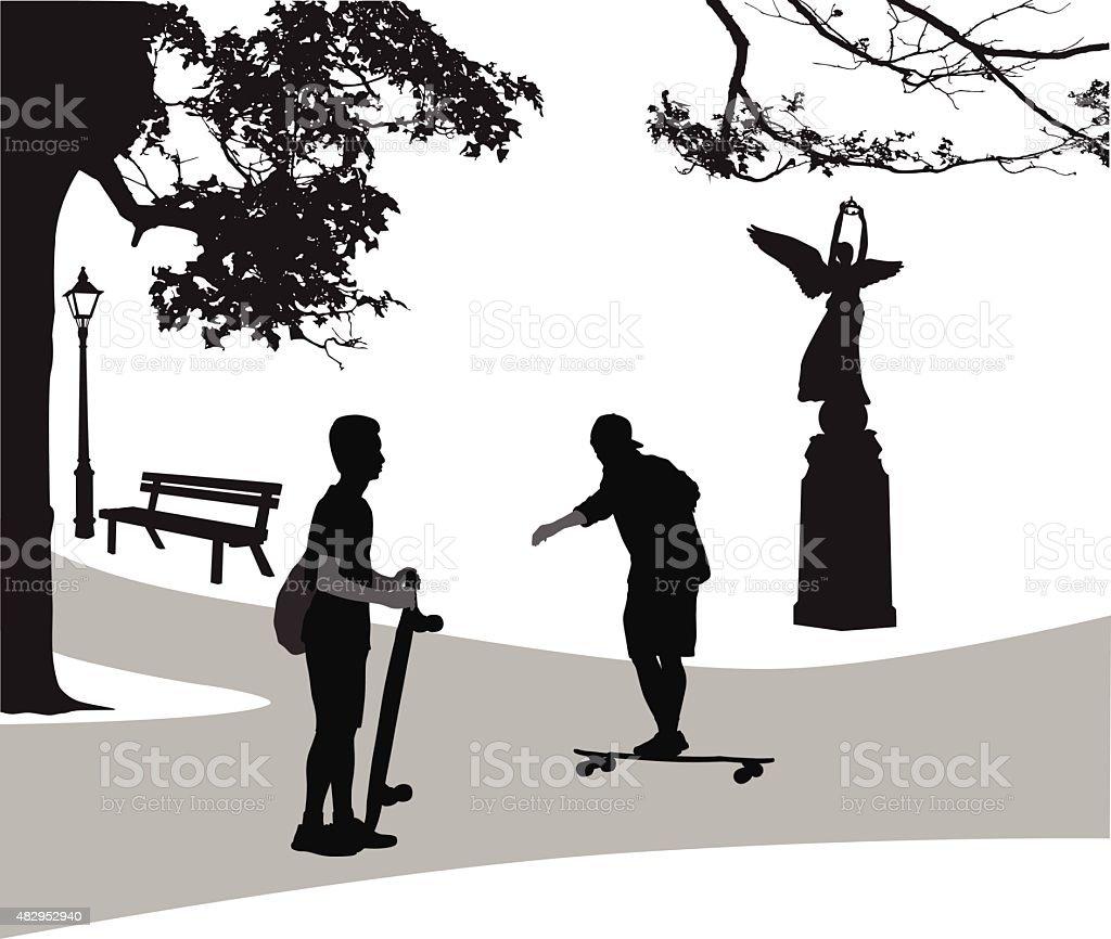 City Park Longboard vector art illustration