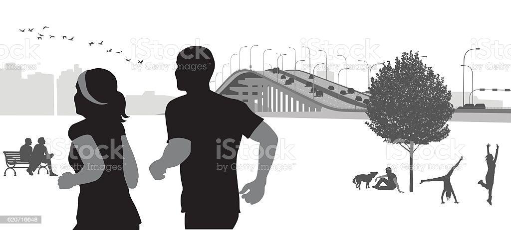 City Park Morning Jog vector art illustration