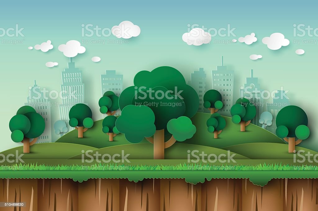 city park vector art illustration