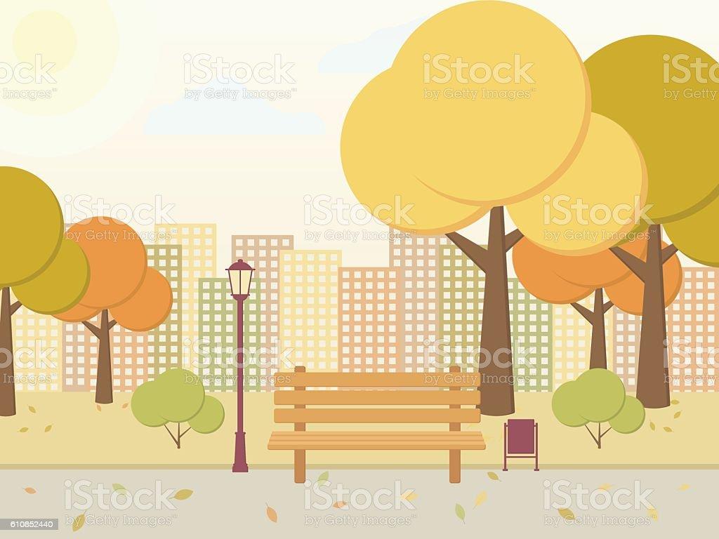 City park. vector art illustration
