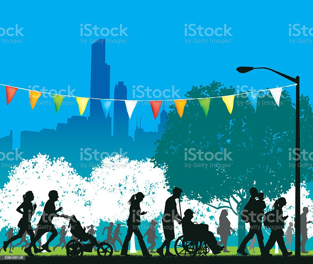 City Park with Busy People Background vector art illustration