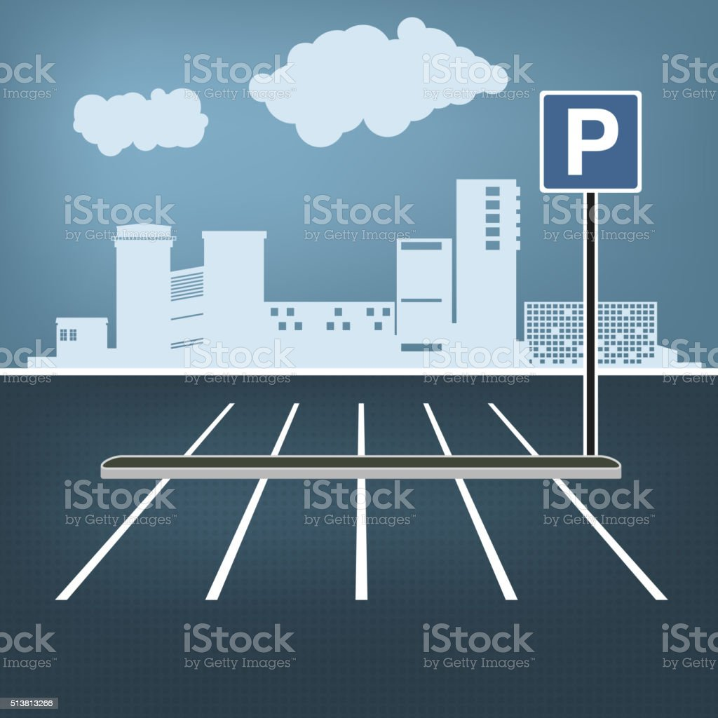 City parking image vector art illustration