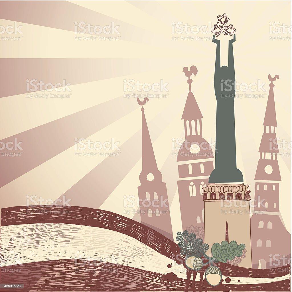 City Riga banner vector art illustration