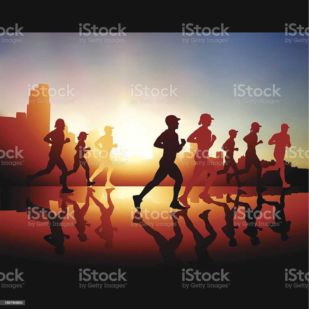 City runners vector art illustration