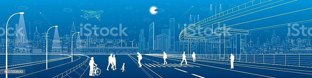 City scene, people walk on the street, skyline, urban panorama vector art illustration