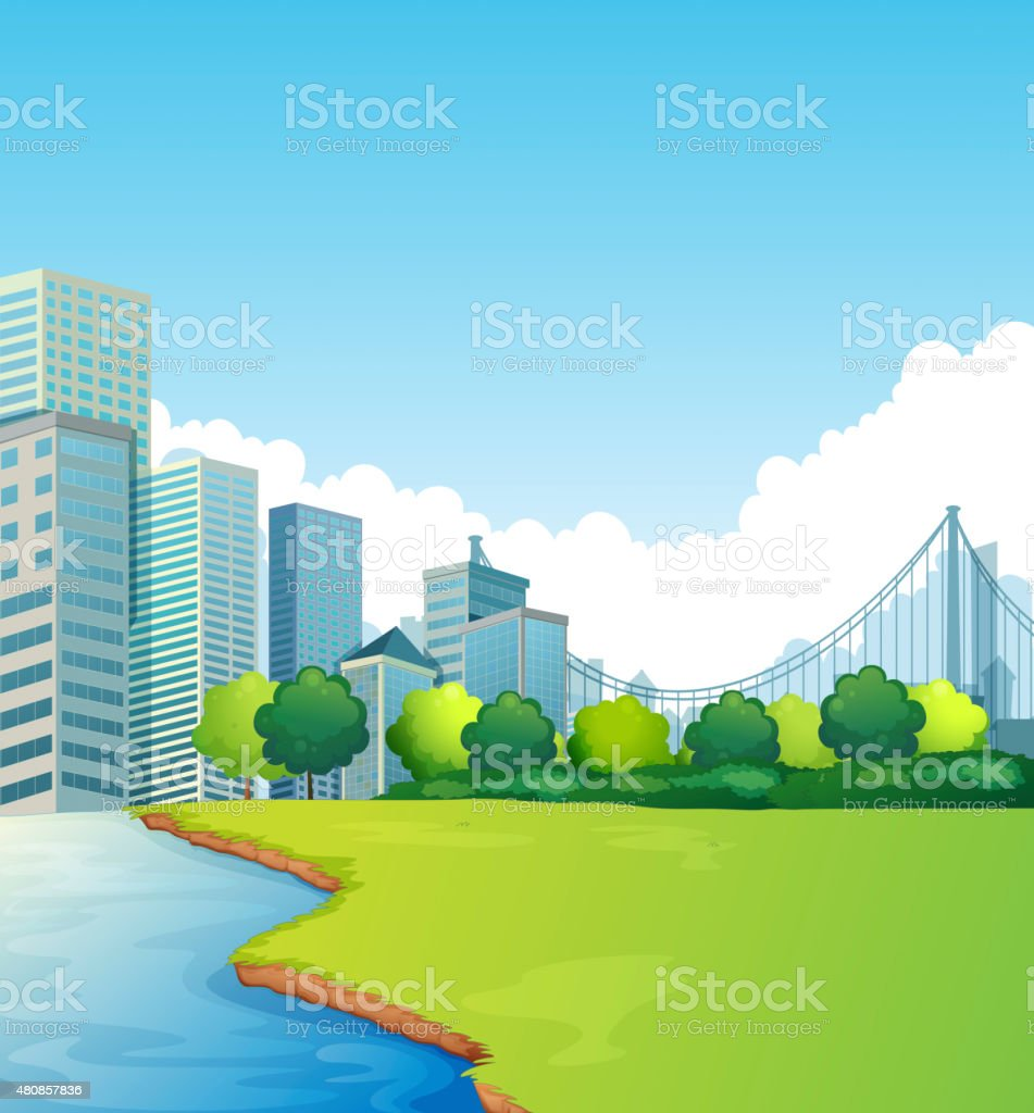 City scene vector art illustration
