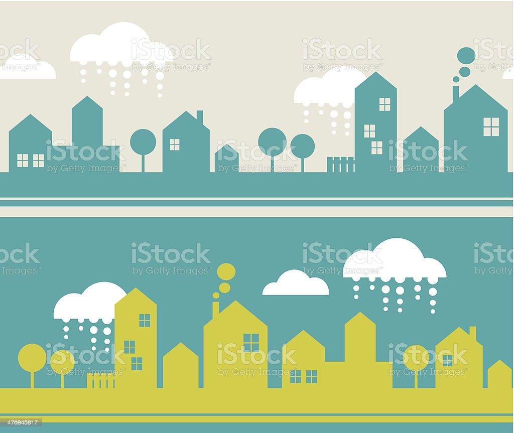 City seamless pattern. vector art illustration