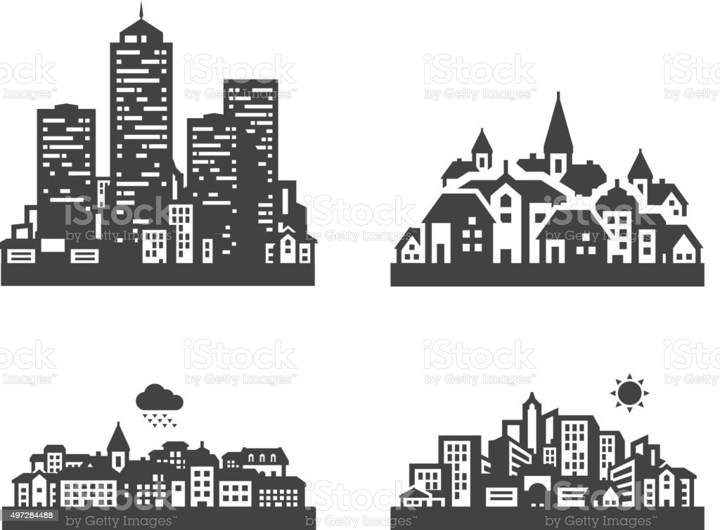 city set black icons. signs and symbols vector art illustration