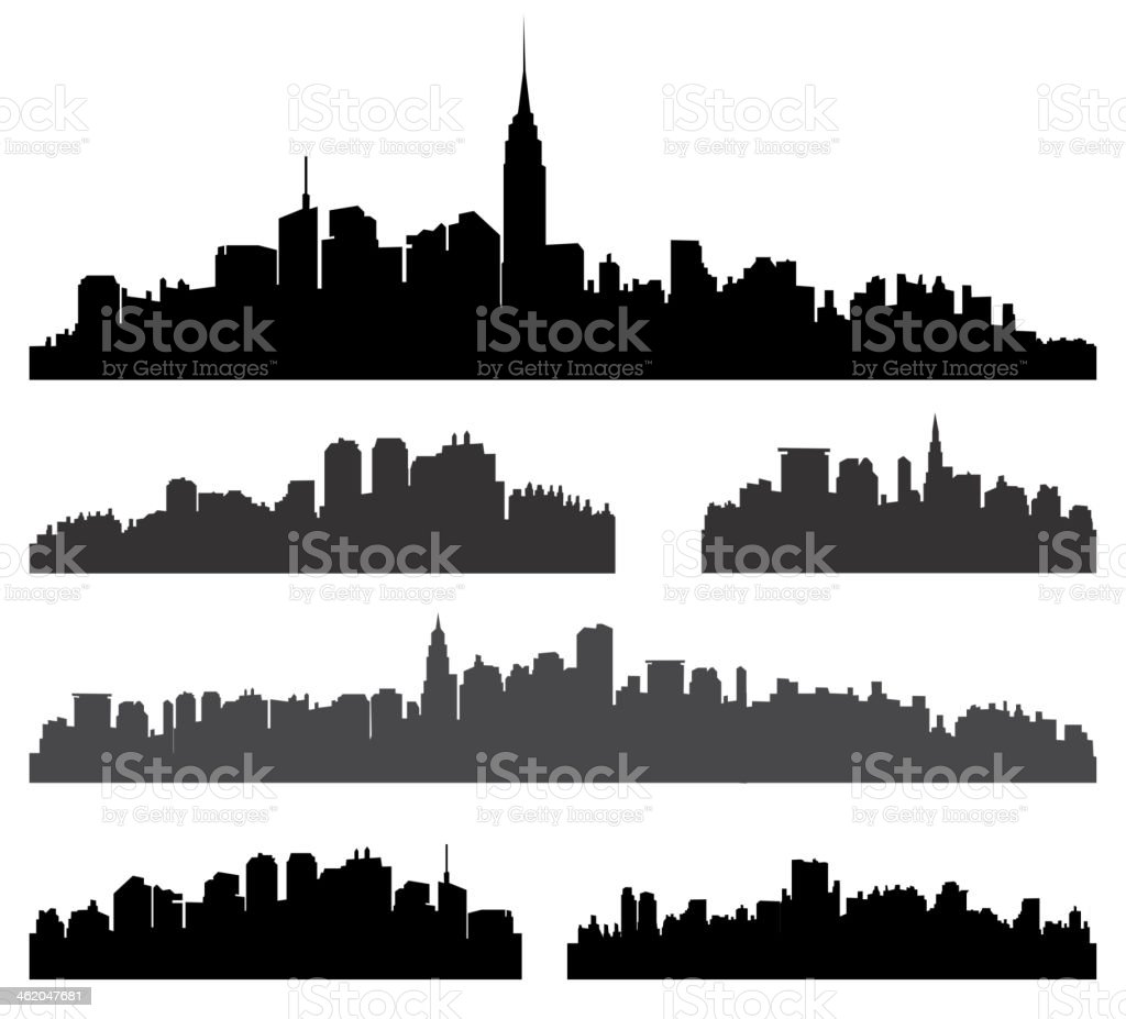 City silhouette vector set. vector art illustration