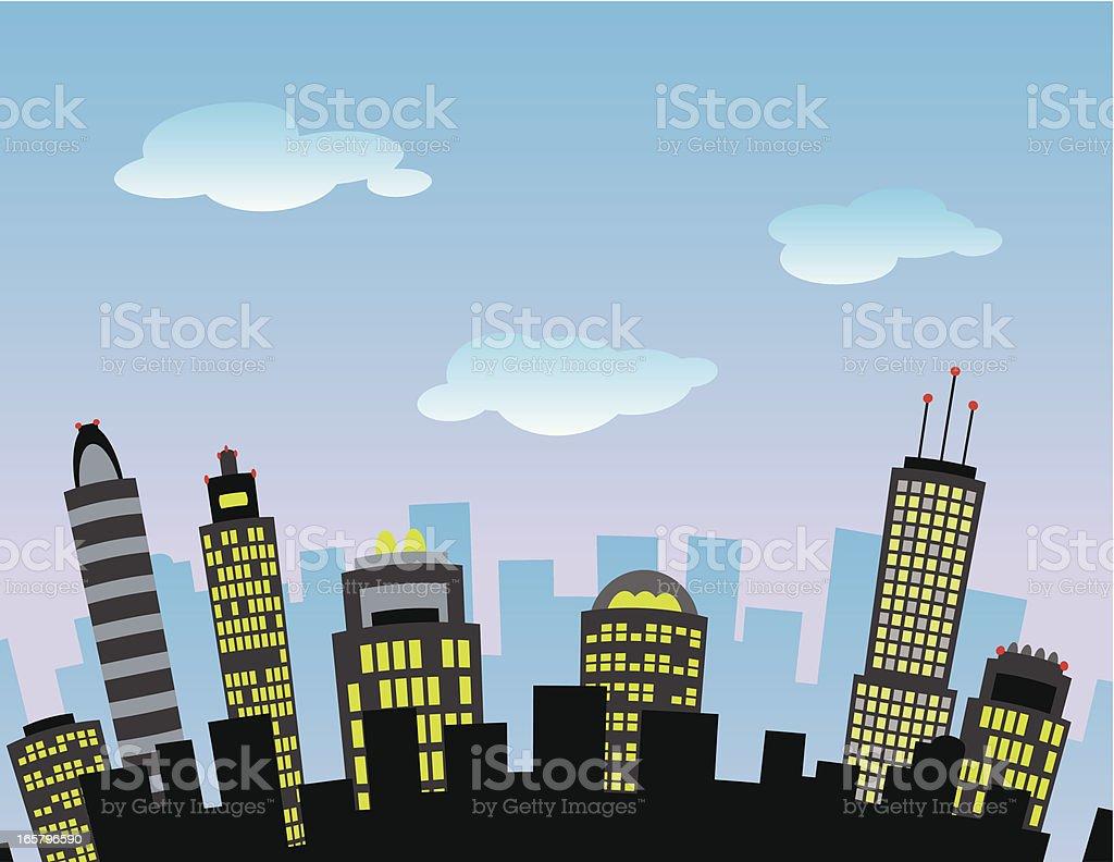 City Sky vector art illustration