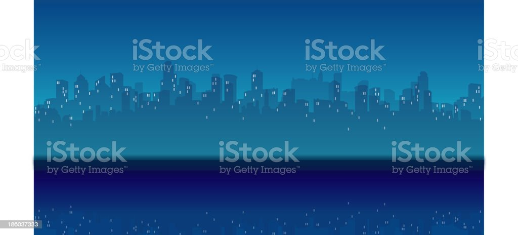 City Skyline and waterfront at Night royalty-free stock vector art