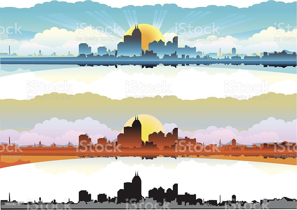 City skyline at dawn/sunset vector art illustration