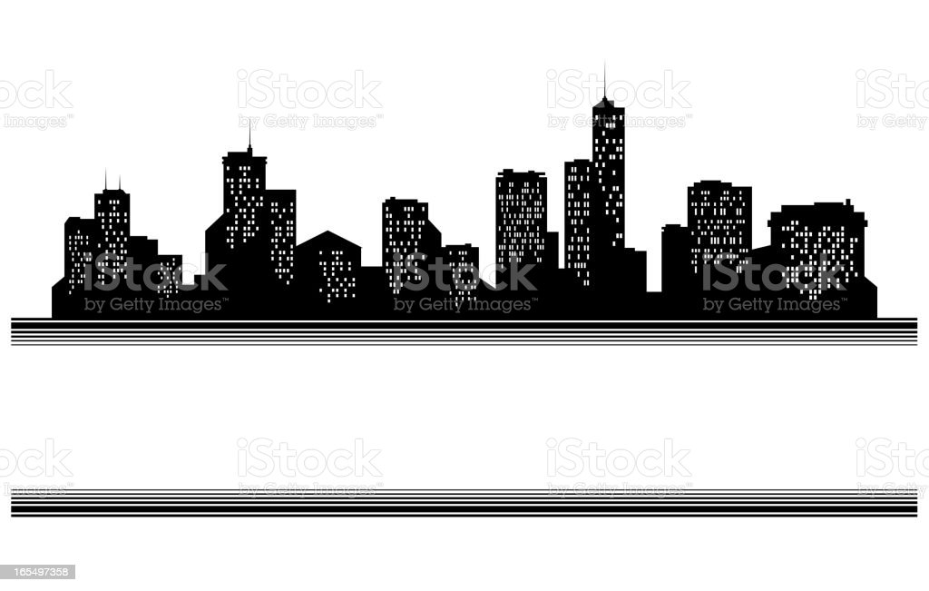 City skyline banner in black silhouette royalty-free stock vector art