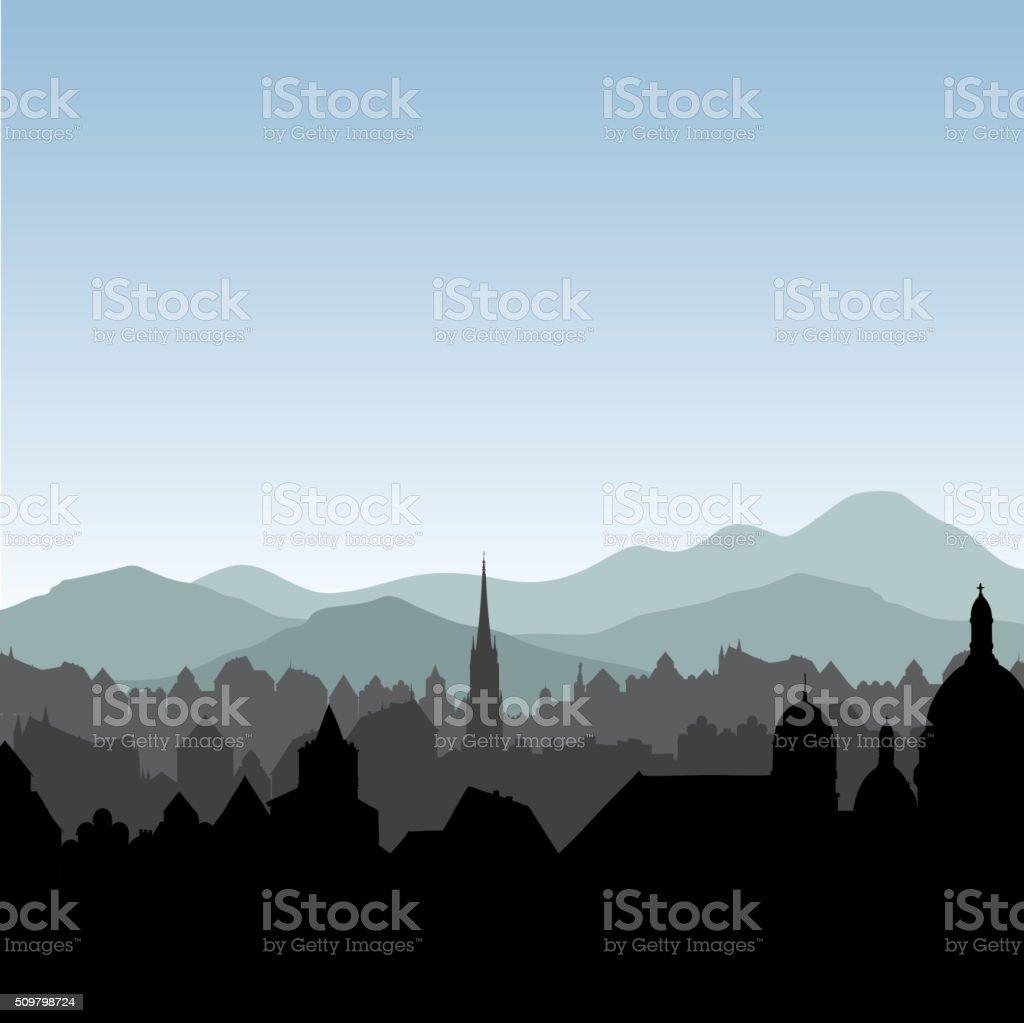 City skyline. Cityscape background. European landscape. vector art illustration